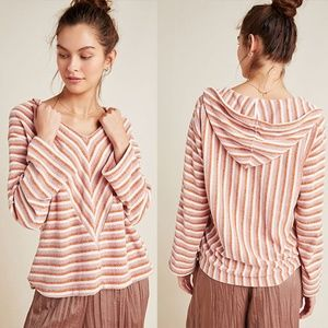 Anthropologie Oversized Chenille Striped Hoodie XS